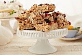 Rice Krispie Treats with Cranberries and Almonds on a Pedestal Dish