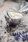Ice cream with lavender flowers