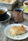 Orange baklava and tea