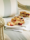 Two slices of apple and cranberry cake