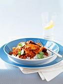 Saffron and tomato chicken on basmati rice