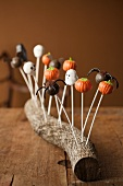 Halloween Cake Pops in a Log