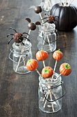 Jars of Halloween Cake Pops; Pumpkins, Spiders and Bats