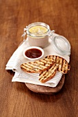 Toasted bread with dips