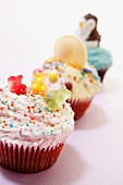 Three cupcakes for a children's party
