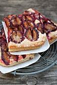 Slices of damson cake