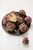 Mini artichokes on a plate