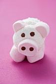 Schweinchen aus Kokos-Schaumzucker auf pinkfarbenem Untergrund