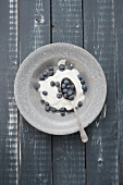 Blueberries and yoghurt in a grey enamel bowl