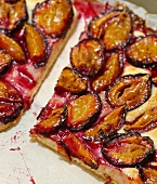 Plum cake on a piece of paper