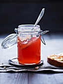 Quince jelly in a jam jar
