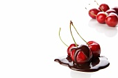 Sweet cherries with chocolate sauce
