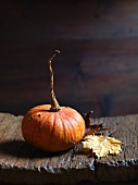 An orange pumpkin with autumnal leaves on a wooden board