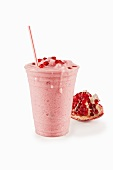 Pomegranate Shake with a Straw