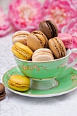 An elegant tea cup filled with colourful macaroons