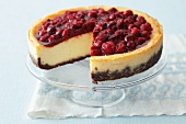 Cheese cake with cherries and jelly