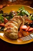 Hühnerbrust mit Erdbeeren & Blattsalat