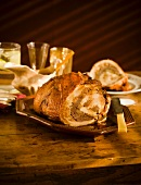Turducken on a Platter on Wooden Table