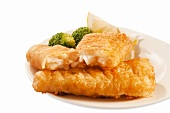 Battered Fish Sticks with Broccoli and Lemon