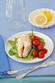 A salmon steak with coconut on a bed of spinach with roasted tomatoes