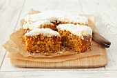 Carrot cake, sliced