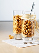 Jalapeño peanuts in two glasses