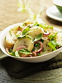 Potato salad with red onions and herbs