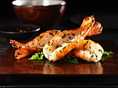 Garlic prawns with herbs