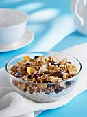 Muesli with dried fruits, nuts and cornflakes