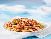 Penne alla bolognese (pasta with meat sauce, Italy)