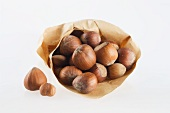 Hazelnuts in a paper bag