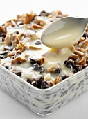 Condensed milk with nuts and chocolate chips