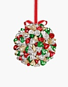 Christmas Hanging Ball Made from Multi-Colored Wrapped Kisses