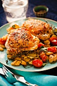Seasoned Chicken Thighs Over White Beans and Tomatoes; Thyme