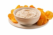 Bowl of Onion Dip with Barbecue Chips