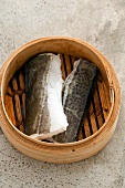 Cod fillets in a bamboo steamer