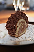 Sponge roll with chocolate cream filling