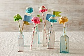 Flower Cake Pops in a Glass Bottles