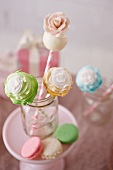 Flower Cake Pops in a Jar with Macaroons