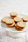 Cinnamon Swirl Cookies on a Pedestal Dish