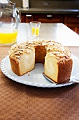 Almond Coffee Cake; Slice Removed; With Cake Server