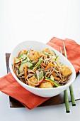 Cold Soba Noodle Salad in a Bowl; Chopsticks