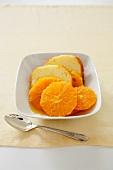 Glazed Oranges with Pound Cake