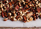 Roasted Mixed Nuts on Parchment Paper