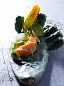 Smoked salmon on a cactus leaf