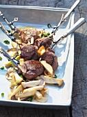 Venison chops with porcini mushrooms