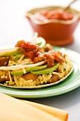 Breakfast Tacos with Egg, Potato, Avocado and Salsa