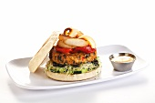 Veggie Burger with Roasted Red Peppers and Onions