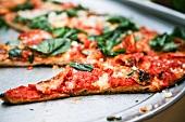 Pizza mit Tomaten, Mozzarella, und Spinat