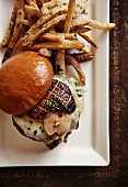 Cheeseburger with Foie Gras and Vermont Cheddar; Truffle Fries